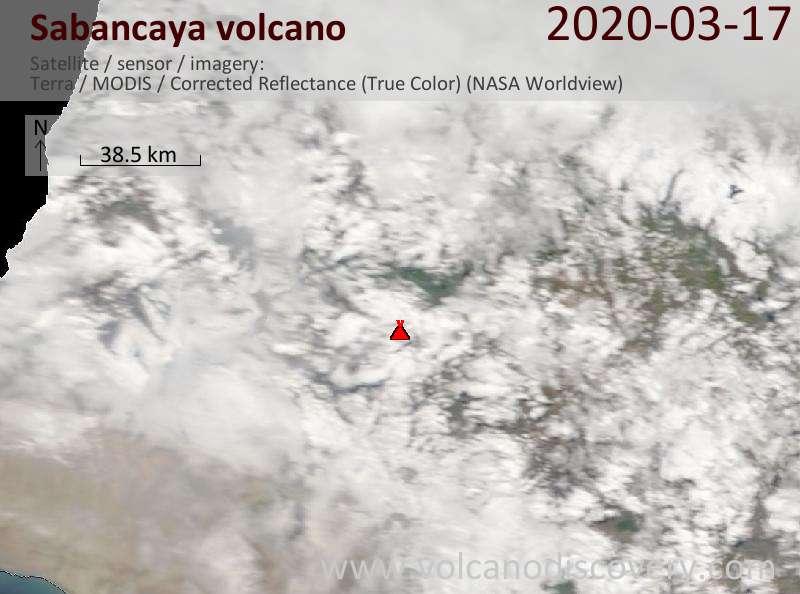 Satellite image of Sabancaya volcano on 17 Mar 2020