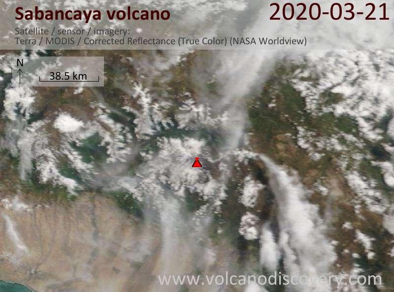 Satellite image of Sabancaya volcano on 21 Mar 2020