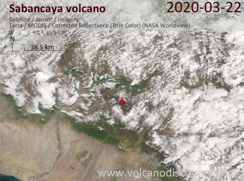 Satellite image of Sabancaya volcano on 22 Mar 2020