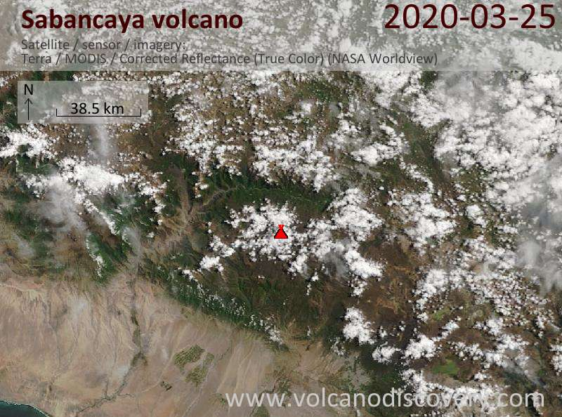 Satellite image of Sabancaya volcano on 25 Mar 2020