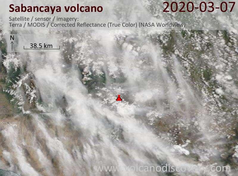 Satellite image of Sabancaya volcano on  8 Mar 2020