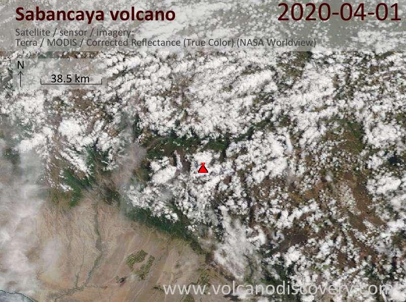 Satellite image of Sabancaya volcano on  1 Apr 2020