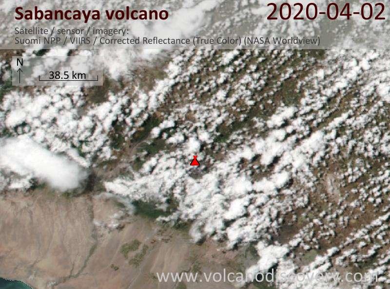 Satellite image of Sabancaya volcano on  2 Apr 2020