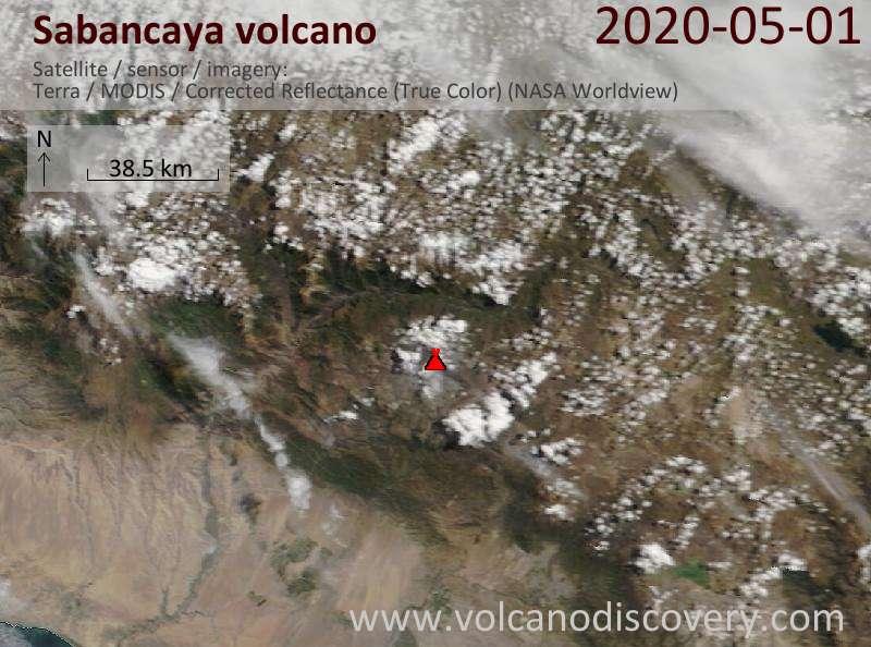 Satellite image of Sabancaya volcano on  1 May 2020