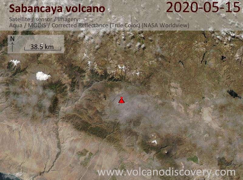 Satellite image of Sabancaya volcano on 16 May 2020