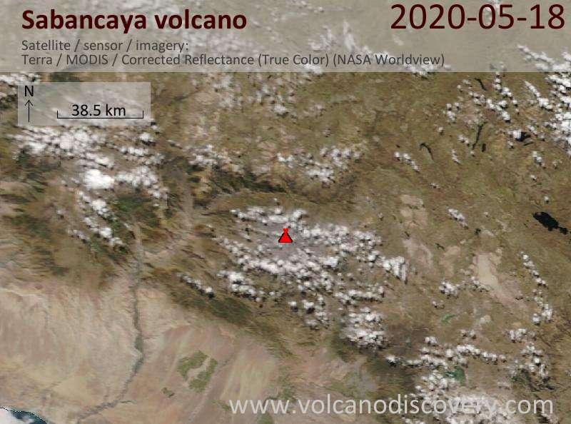Satellite image of Sabancaya volcano on 18 May 2020