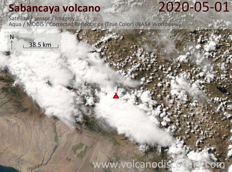 Satellite image of Sabancaya volcano on  2 May 2020