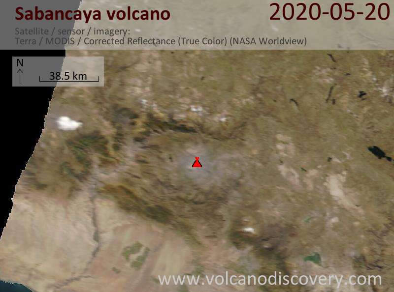 Satellite image of Sabancaya volcano on 20 May 2020