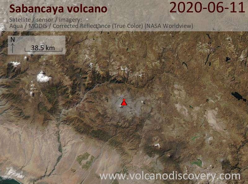 Satellite image of Sabancaya volcano on 12 Jun 2020