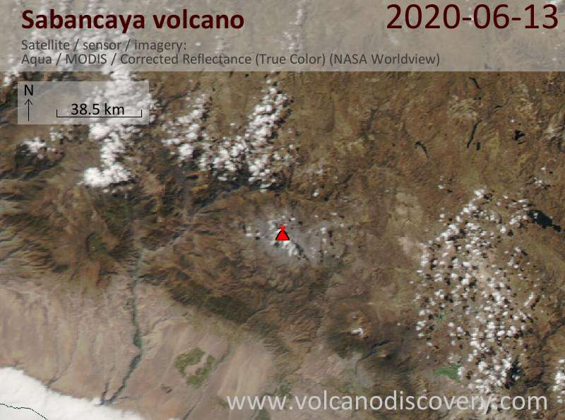 Satellite image of Sabancaya volcano on 14 Jun 2020