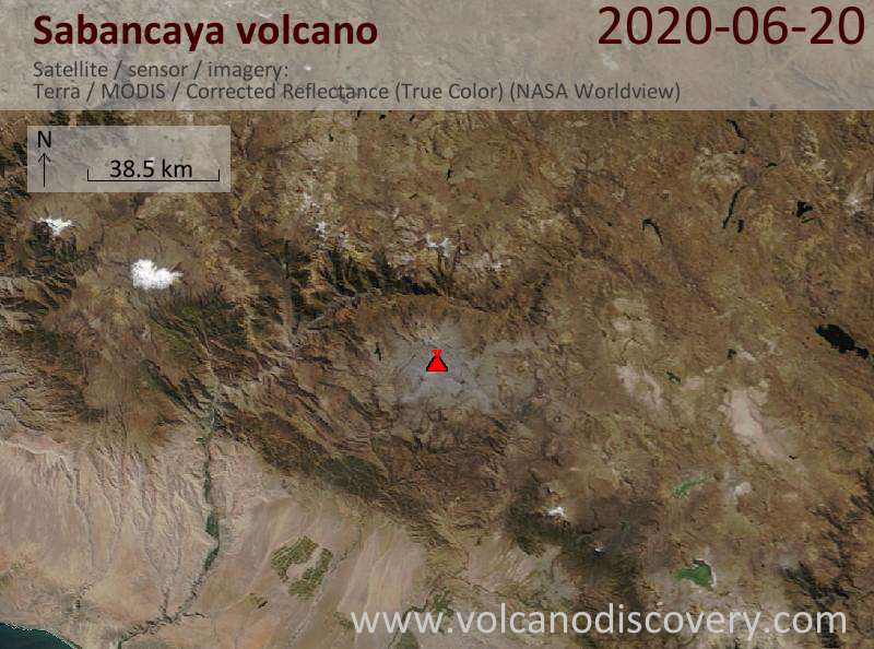 Satellite image of Sabancaya volcano on 20 Jun 2020