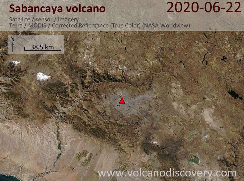 Satellite image of Sabancaya volcano on 22 Jun 2020