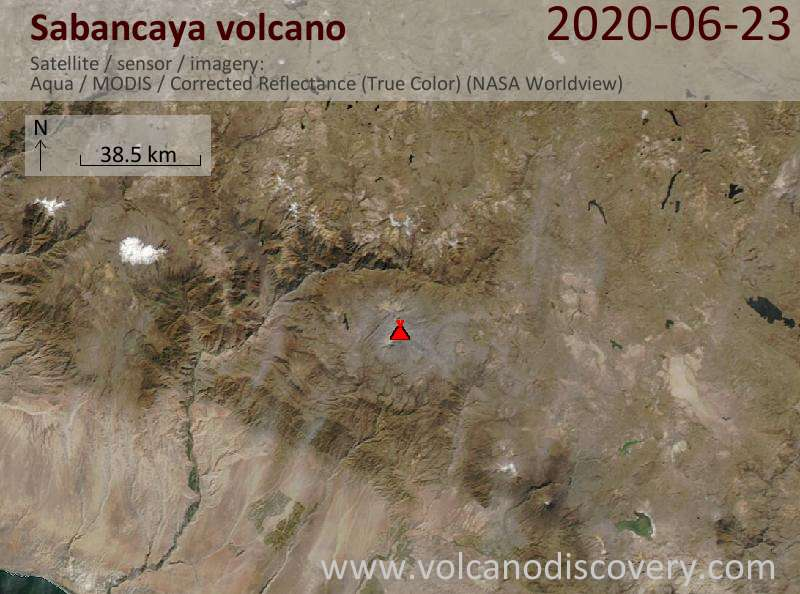 Satellite image of Sabancaya volcano on 23 Jun 2020