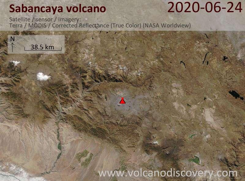Satellite image of Sabancaya volcano on 24 Jun 2020