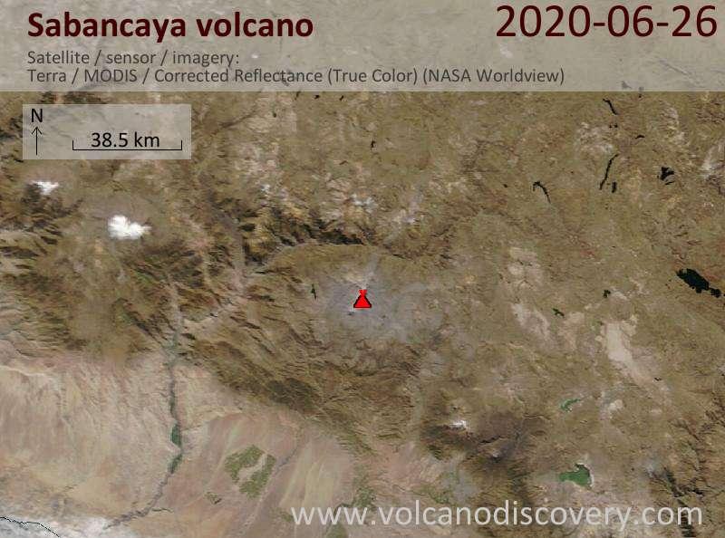 Satellite image of Sabancaya volcano on 26 Jun 2020
