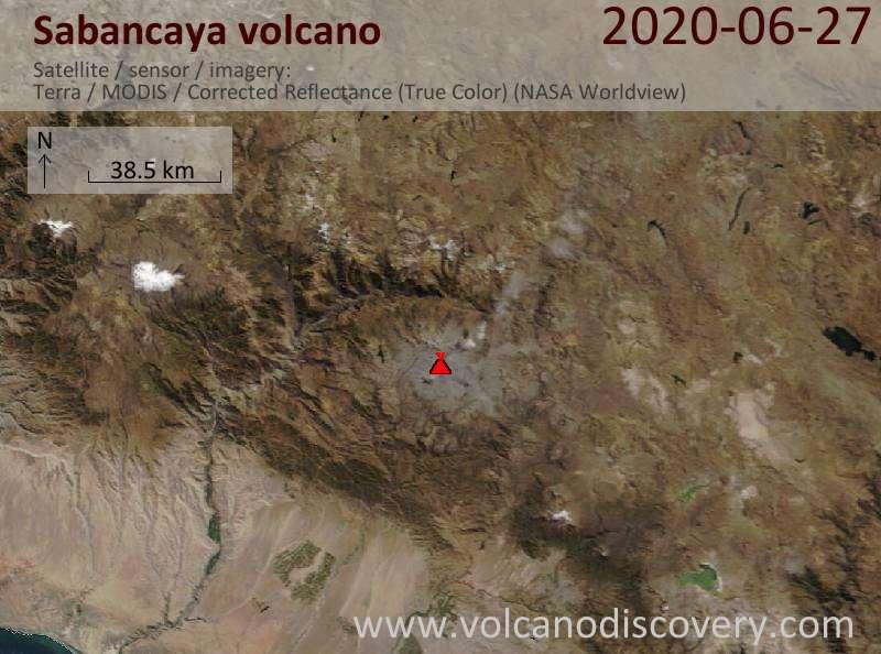 Satellite image of Sabancaya volcano on 27 Jun 2020