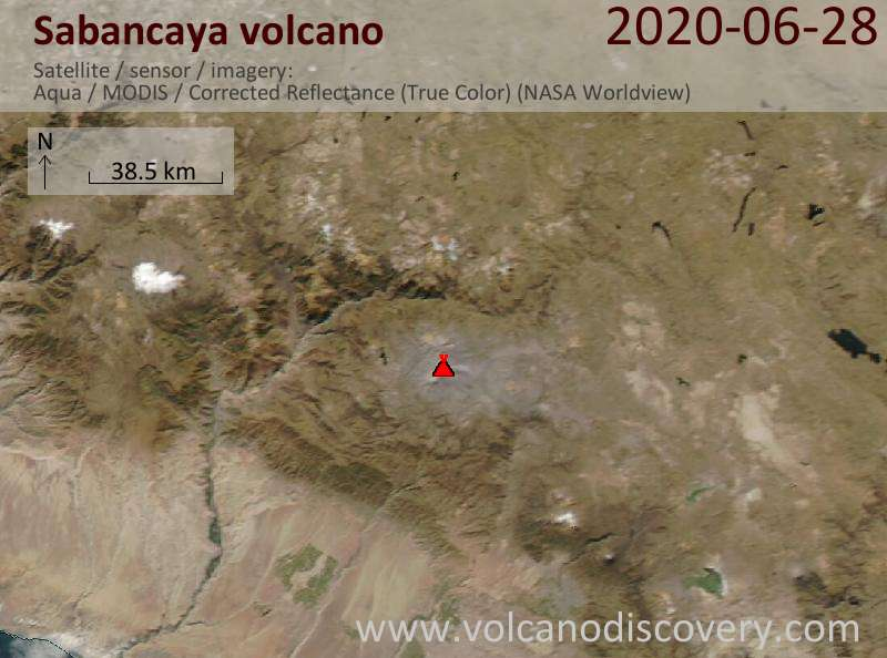 Satellite image of Sabancaya volcano on 29 Jun 2020