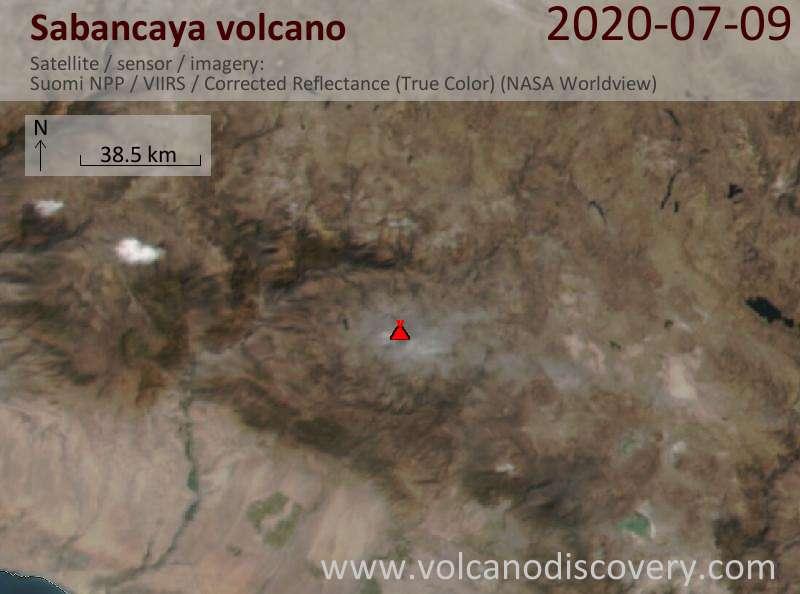 Satellite image of Sabancaya volcano on 10 Jul 2020