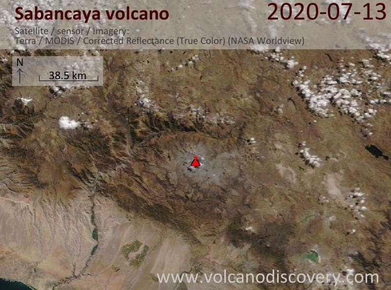 Satellite image of Sabancaya volcano on 13 Jul 2020