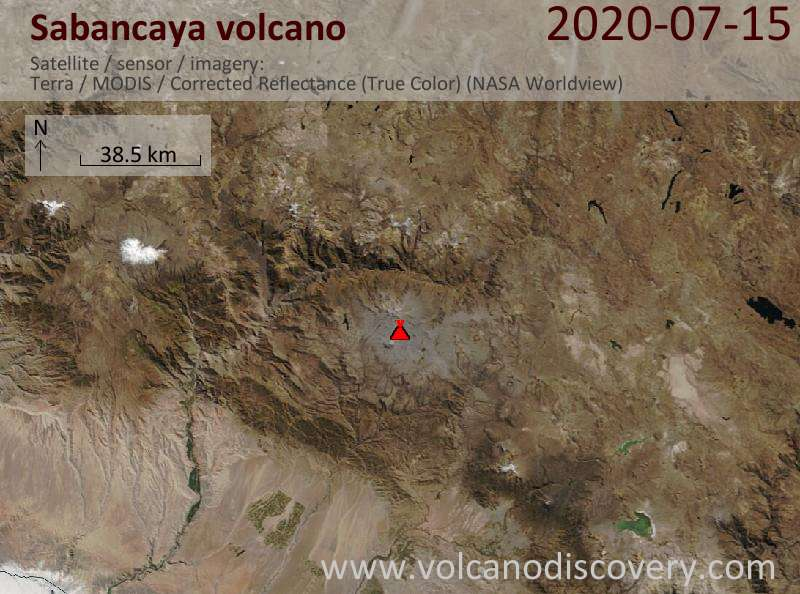 Satellite image of Sabancaya volcano on 15 Jul 2020