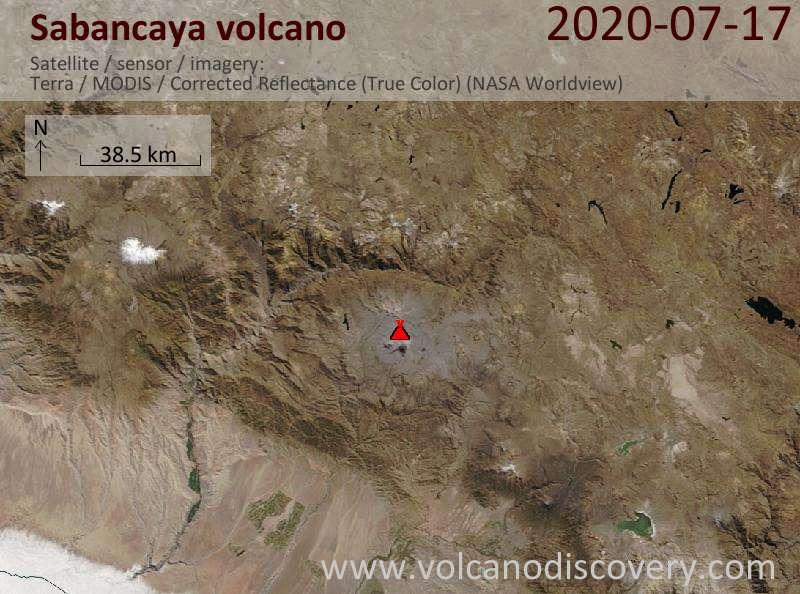 Satellite image of Sabancaya volcano on 17 Jul 2020