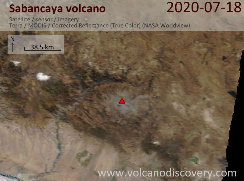 Satellite image of Sabancaya volcano on 18 Jul 2020
