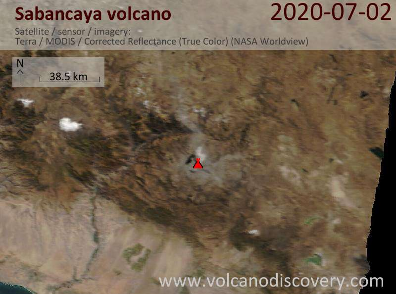 Satellite image of Sabancaya volcano on  2 Jul 2020