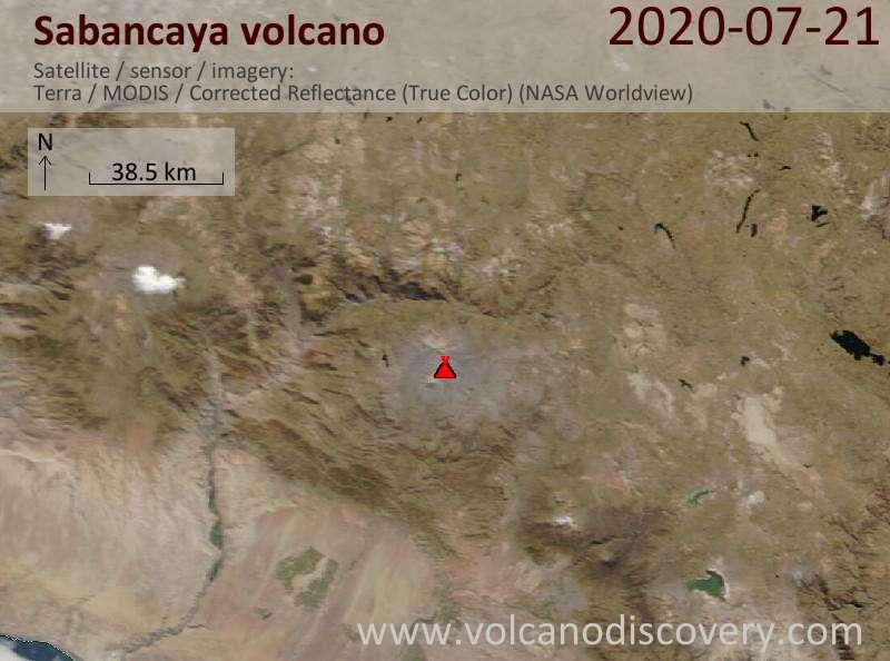 Satellite image of Sabancaya volcano on 21 Jul 2020