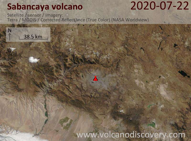Satellite image of Sabancaya volcano on 22 Jul 2020