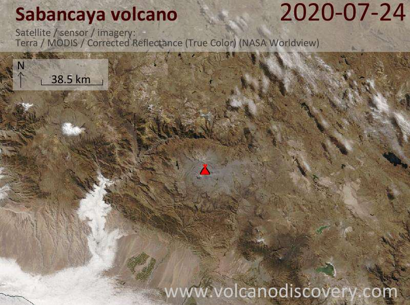 Satellite image of Sabancaya volcano on 24 Jul 2020