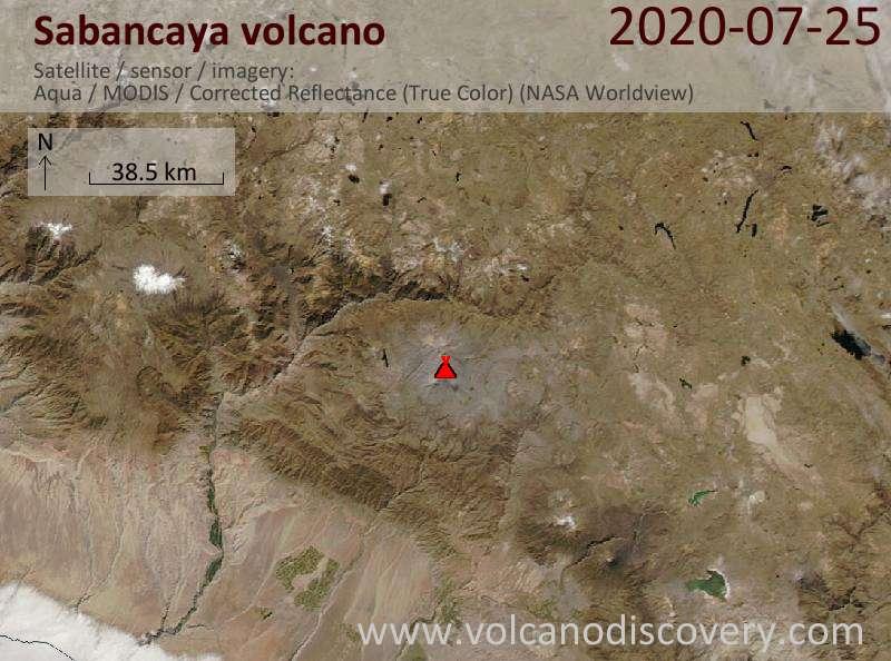 Satellite image of Sabancaya volcano on 25 Jul 2020
