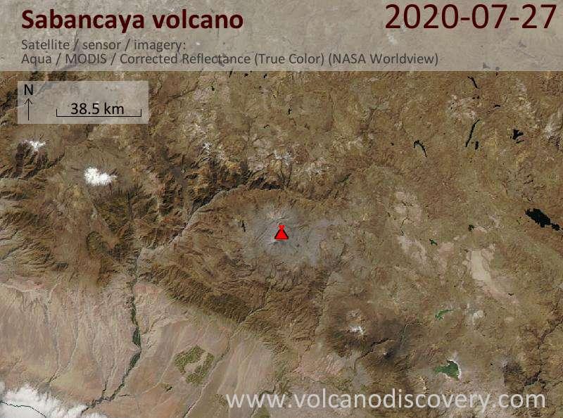 Satellite image of Sabancaya volcano on 27 Jul 2020