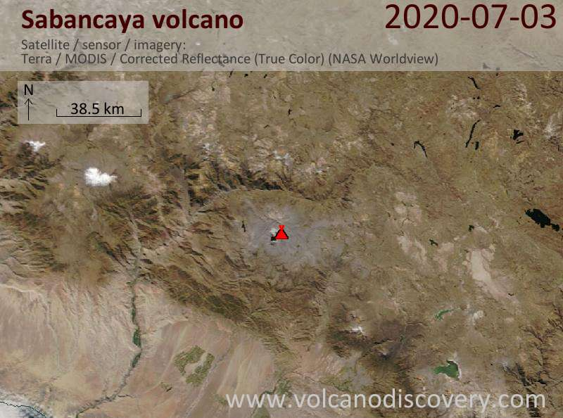 Satellite image of Sabancaya volcano on  3 Jul 2020