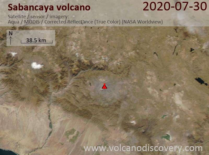 Satellite image of Sabancaya volcano on 31 Jul 2020