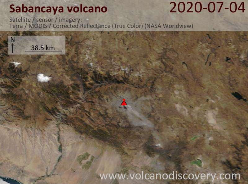 Спутниковое изображение вулкана Sabancaya  4 Jul 2020