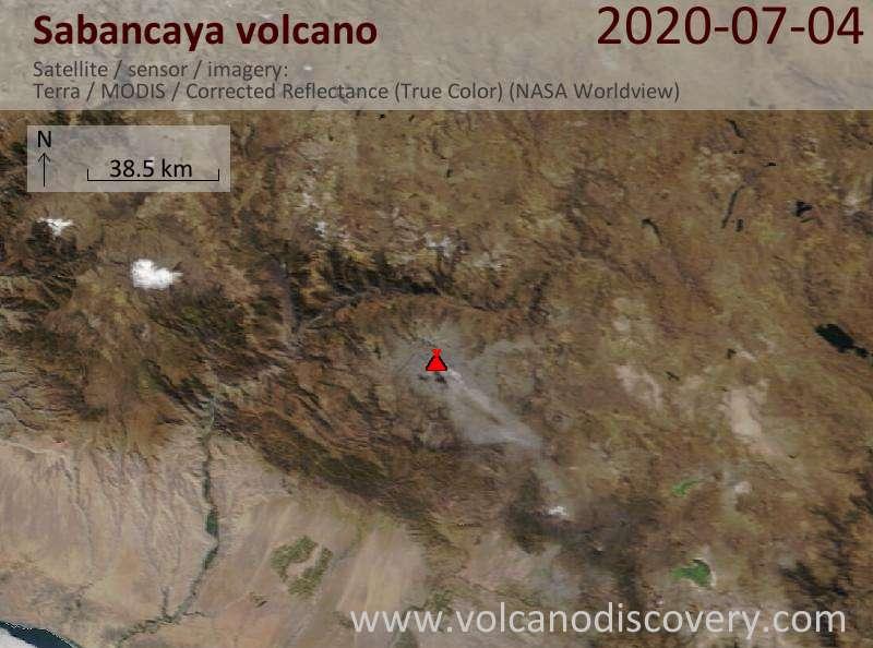 Satellite image of Sabancaya volcano on  4 Jul 2020