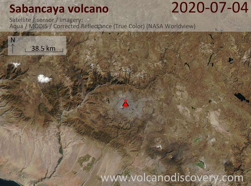 Satellite image of Sabancaya volcano on  5 Jul 2020