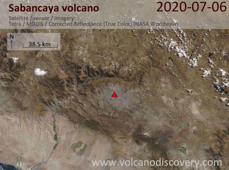 Satellite image of Sabancaya volcano on  6 Jul 2020
