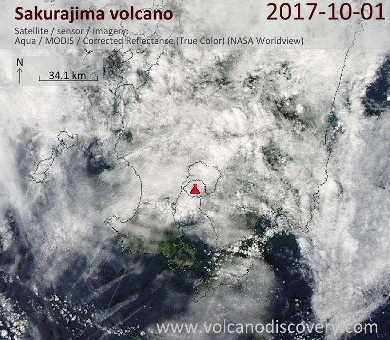 Satellite image of Sakurajima volcano on  1 Oct 2017