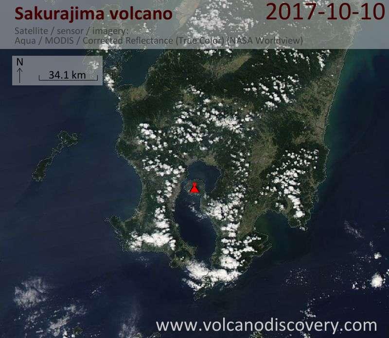 Satellite image of Sakurajima volcano on 10 Oct 2017