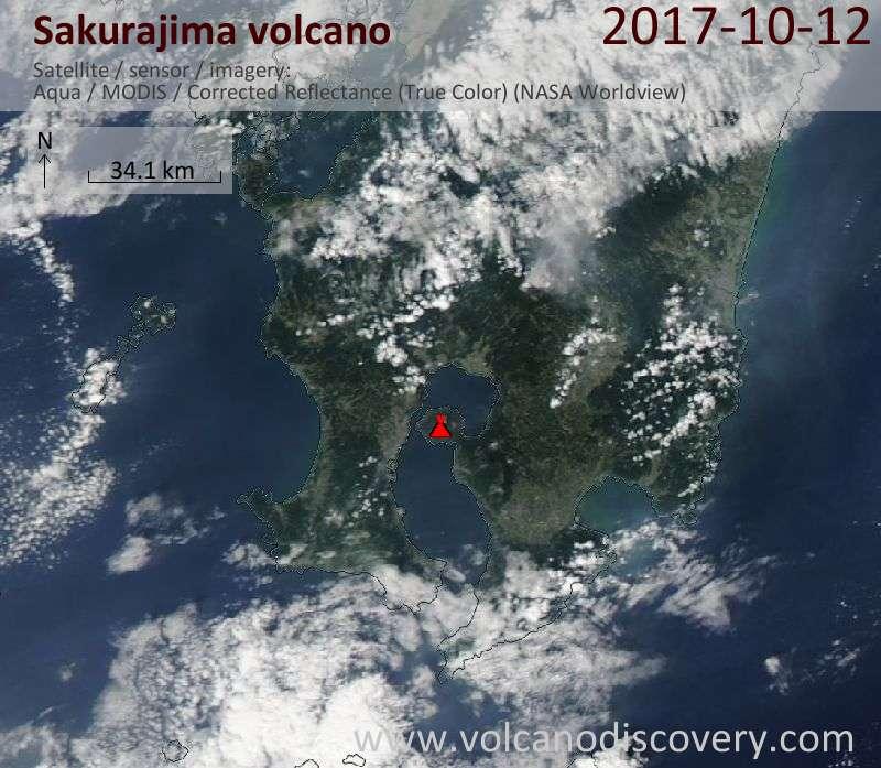 Satellite image of Sakurajima volcano on 12 Oct 2017