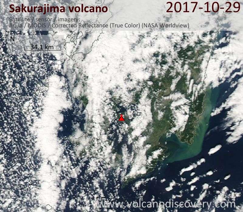 Satellite image of Sakurajima volcano on 29 Oct 2017