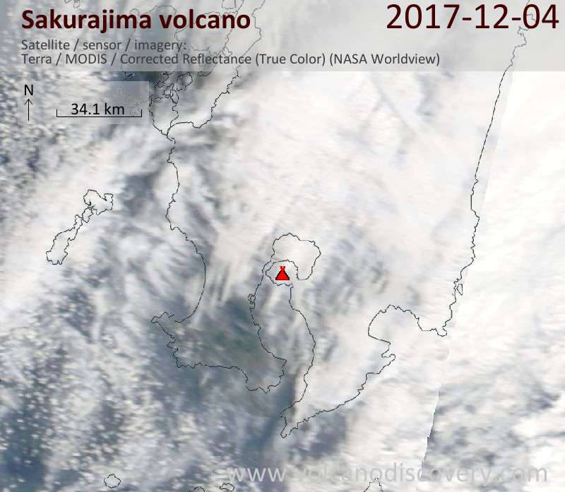 Satellite image of Sakurajima volcano on  4 Dec 2017