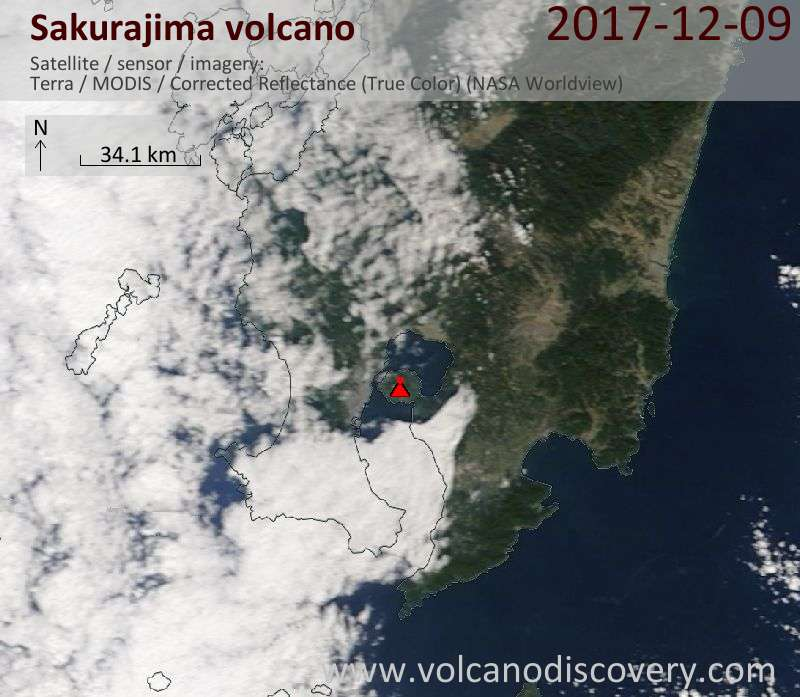 Satellite image of Sakurajima volcano on  9 Dec 2017