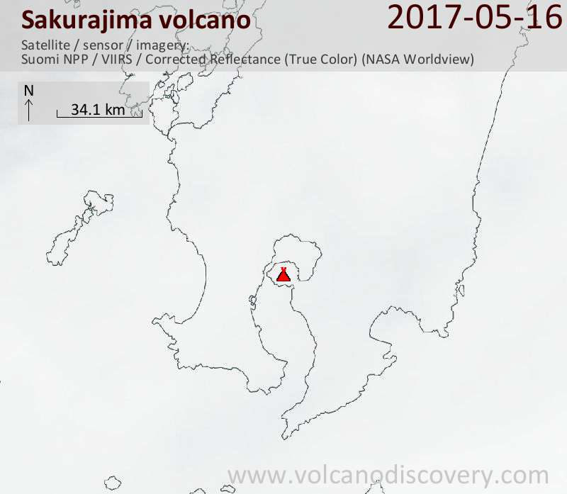 Satellite image of Sakurajima volcano on 17 May 2017