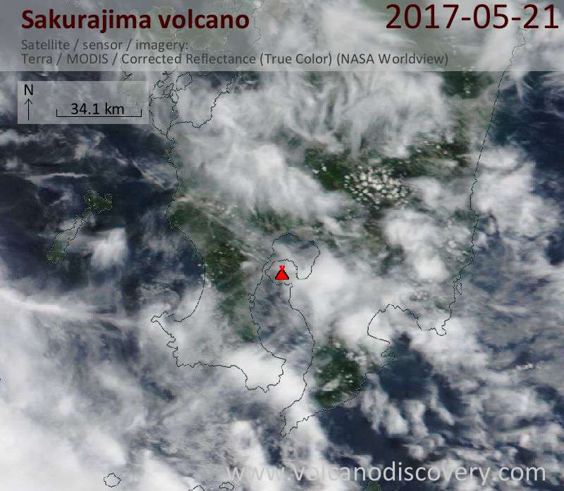 Satellite image of Sakurajima volcano on 21 May 2017