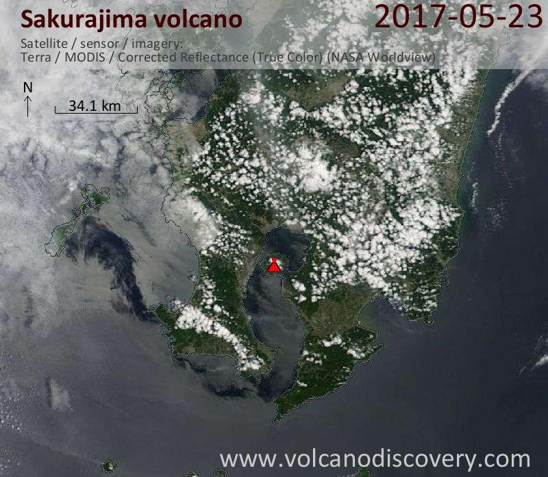 Satellite image of Sakurajima volcano on 23 May 2017