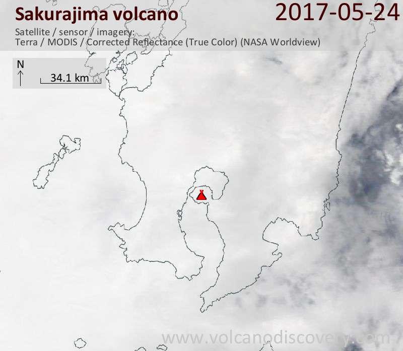 Satellite image of Sakurajima volcano on 25 May 2017