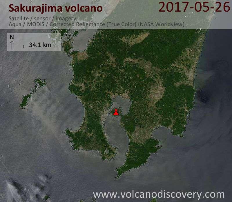 Satellite image of Sakurajima volcano on 26 May 2017