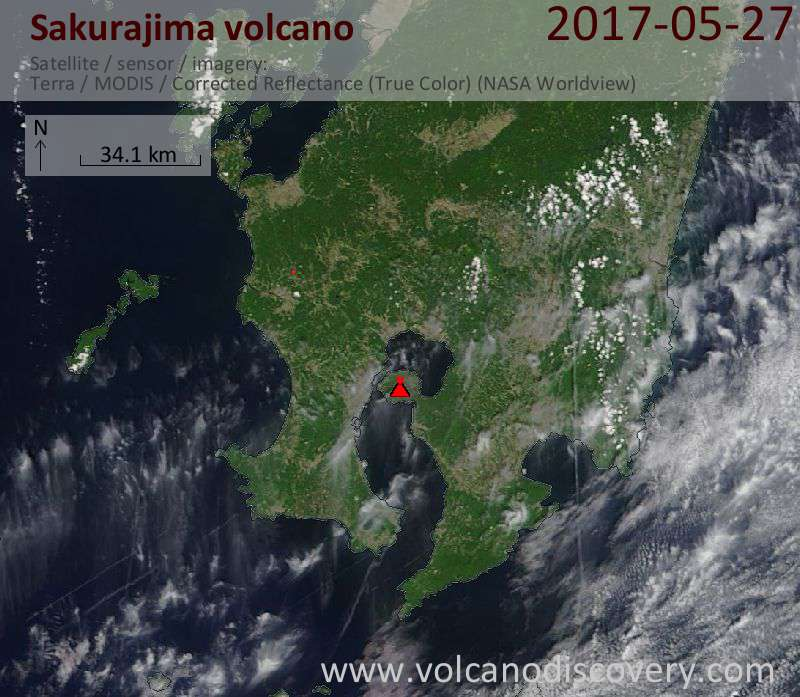 Satellite image of Sakurajima volcano on 27 May 2017